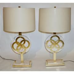 1970s Vintage Italian Pair of Modern Design Brass and Pink Carrara Marble Lamps - 1035722