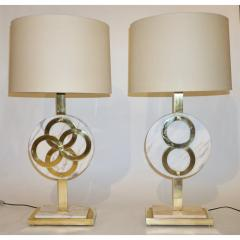 1970s Vintage Italian Pair of Modern Design Brass and Pink Carrara Marble Lamps - 1035723