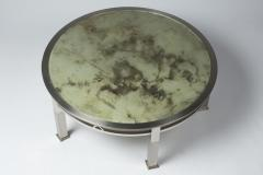 1970s round coffee table in chrome and glass - 1439185