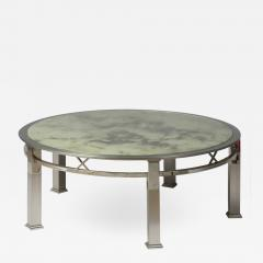 1970s round coffee table in chrome and glass - 1439374