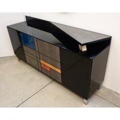 1976 Italian Black Lacquer Silver Grey Blue Mondrian Decor Bar Sideboard Cabinet - 1614338