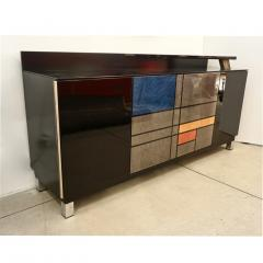 1976 Italian Black Lacquer Silver Grey Blue Mondrian Decor Bar Sideboard Cabinet - 1614340