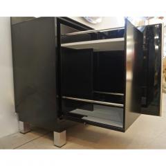 1976 Italian Black Lacquer Silver Grey Blue Mondrian Decor Bar Sideboard Cabinet - 1614341