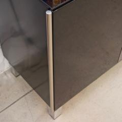 1976 Italian Black Lacquer Silver Grey Blue Mondrian Decor Bar Sideboard Cabinet - 1614342