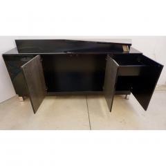 1976 Italian Black Lacquer Silver Grey Blue Mondrian Decor Bar Sideboard Cabinet - 1614343