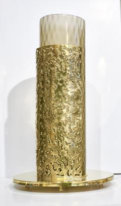 1980 Italian Brutalist Pair of Cream Beige Murano Glass Round Brass Table Lamps - 1647034