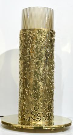 1980 Italian Brutalist Pair of Cream Beige Murano Glass Round Brass Table Lamps - 1647044