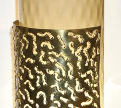 1980 Italian Brutalist Pair of Cream Beige Murano Glass Round Brass Table Lamps - 1647045