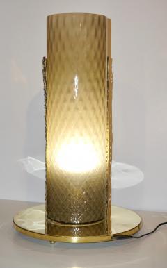 1980 Italian Brutalist Pair of Cream Beige Murano Glass Round Brass Table Lamps - 1647046