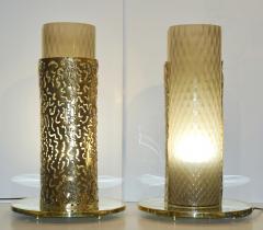 1980 Italian Brutalist Pair of Cream Beige Murano Glass Round Brass Table Lamps - 1647047