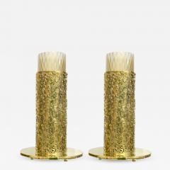 1980 Italian Brutalist Pair of Cream Beige Murano Glass Round Brass Table Lamps - 1650100