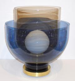 1980 Italian Monumental Blue Smoked Gray Murano Glass Modern Lamp Floor Lamp - 1056202
