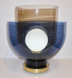 1980 Italian Monumental Blue Smoked Gray Murano Glass Modern Lamp Floor Lamp - 1056203