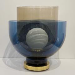1980 Italian Monumental Blue Smoked Gray Murano Glass Modern Lamp Floor Lamp - 1056205