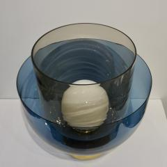 1980 Italian Monumental Blue Smoked Gray Murano Glass Modern Lamp Floor Lamp - 1056209