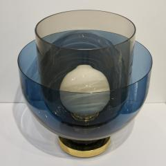 1980 Italian Monumental Blue Smoked Gray Murano Glass Modern Lamp Floor Lamp - 1056211