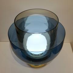 1980 Italian Monumental Blue Smoked Gray Murano Glass Modern Lamp Floor Lamp - 1056219