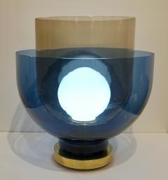 1980 Italian Monumental Blue Smoked Gray Murano Glass Modern Lamp Floor Lamp - 1056221