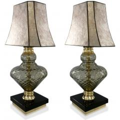 1980 Italian Vintage Pair of Smoked Murano Glass Lamps with Black Brass Accent - 1571150