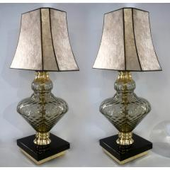 1980 Italian Vintage Pair of Smoked Murano Glass Lamps with Black Brass Accent - 1571155
