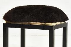 1980 s Black Brass Fur Stool - 1911032