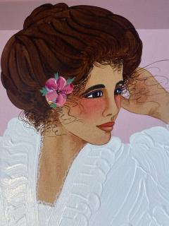 1980S STYLIZED BEAUTIFUL WOMAN IN DYNASTY ERA ATTIRE PAINTING - 2124471