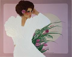 1980S STYLIZED BEAUTIFUL WOMAN IN DYNASTY ERA ATTIRE PAINTING - 2128209