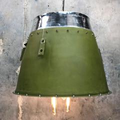 1980s Canadian Bombardier Jet Engine Cowling Green Industrial Pendant Light - 1140094