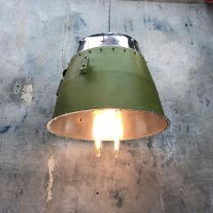 1980s Canadian Bombardier Jet Engine Cowling Green Industrial Pendant Light - 1140098