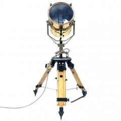 1980s Francis British Brass Searchlight Tripod Lamp - 1122669