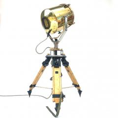 1980s Francis British Brass Searchlight Tripod Lamp - 1122670