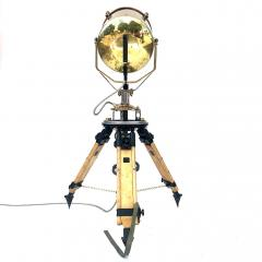 1980s Francis British Brass Searchlight Tripod Lamp - 1122671