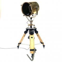 1980s Francis British Brass Searchlight Tripod Lamp - 1122681