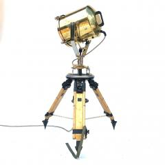 1980s Francis British Brass Searchlight Tripod Lamp - 1122682