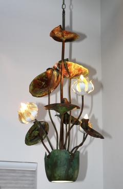 1980s Garland Faulkner Bronze And Copper Chandelier - 1806140