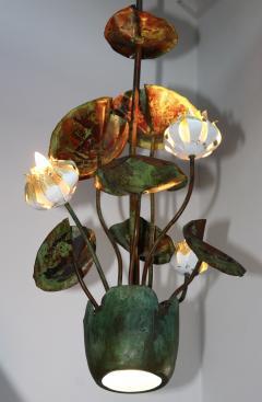 1980s Garland Faulkner Bronze And Copper Chandelier - 1806141