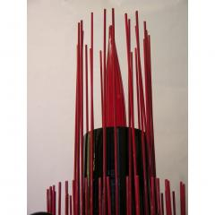 1980s Italian Modern Black and Red Murano Glass Pair of Fountain Floor Lamps - 636005