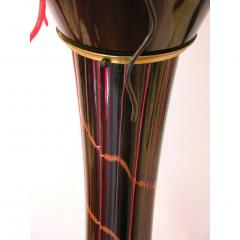 1980s Italian Modern Black and Red Murano Glass Pair of Fountain Floor Lamps - 636006