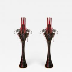 1980s Italian Modern Black and Red Murano Glass Pair of Fountain Floor Lamps - 637654