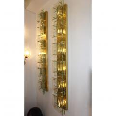 1980s Italian Pair of Modern Gold Brass Monumental Sconces with Aqua Tint Glass - 390676