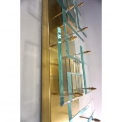 1980s Italian Pair of Modern Gold Brass Monumental Sconces with Aqua Tint Glass - 390677