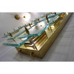 1980s Italian Pair of Modern Gold Brass Monumental Sconces with Aqua Tint Glass - 390678