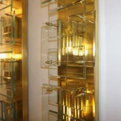 1980s Italian Pair of Modern Gold Brass Monumental Sconces with Aqua Tint Glass - 390679