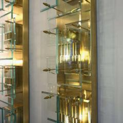 1980s Italian Pair of Modern Gold Brass Monumental Sconces with Aqua Tint Glass - 390681