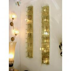 1980s Italian Pair of Modern Gold Brass Monumental Sconces with Aqua Tint Glass - 390682