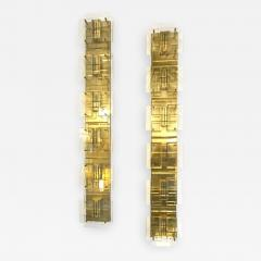 1980s Italian Pair of Modern Gold Brass Monumental Sconces with Aqua Tint Glass - 392105