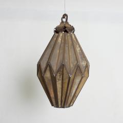 1980s Prism Drop Pendant Lamp Eglomise Sculptural Steel Mexico Vintage - 1542774