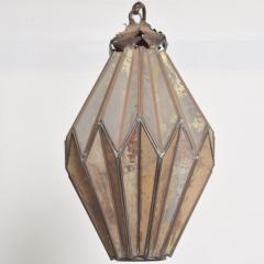 1980s Prism Drop Pendant Lamp Eglomise Sculptural Steel Mexico Vintage - 1542775