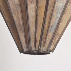 1980s Prism Drop Pendant Lamp Eglomise Sculptural Steel Mexico Vintage - 1542776
