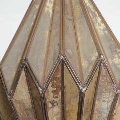1980s Prism Drop Pendant Lamp Eglomise Sculptural Steel Mexico Vintage - 1542778